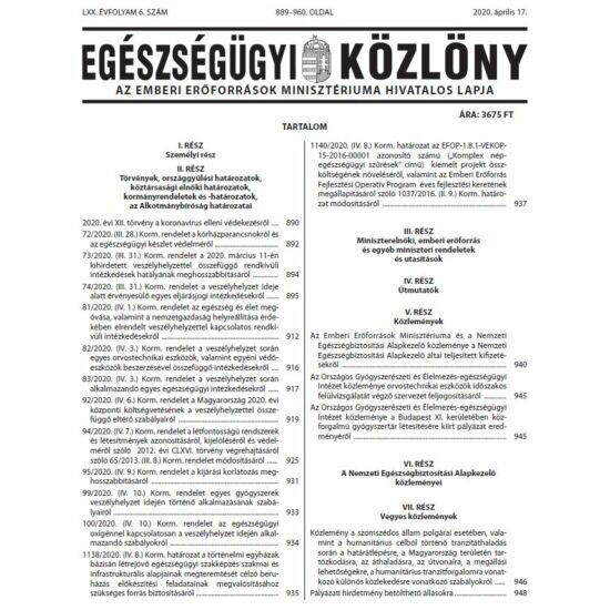 Egészségügyi Közlöny 2020/6.
