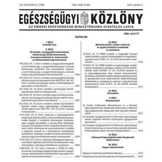 Egészségügyi Közlöny 2020/16.